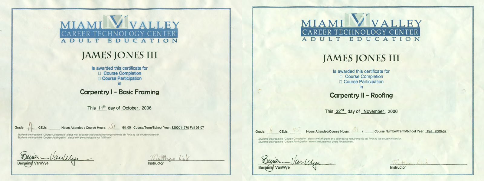 James jones professional home inspector in columbus ohio carpentry certification 1betcityfo Choice Image
